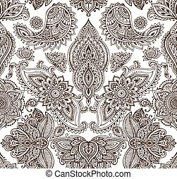 Vector seamless pattern with henna mehndi floral elements. -...