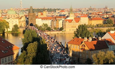 The historic center of Prague, ancient architecture in...