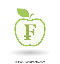 Isolated line art apple icon with a swiss franc sign -...