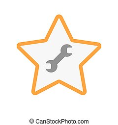 Isolated line art star icon with a wrench - Illustration of...