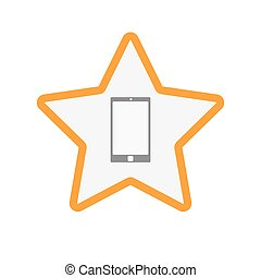 Isolated  line art star icon with a smart phone