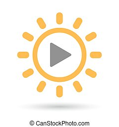 Isolated  line art sun icon with a play sign