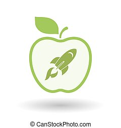 Isolated  line art apple icon with a rocket