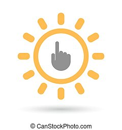 Isolated  line art sun icon with a pointing hand