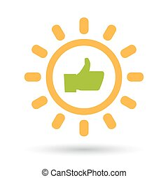 Isolated  line art sun icon with a thumb up hand