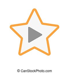Isolated  line art star icon with a play sign