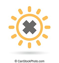 Isolated line art sun icon with an irritating substance sign...