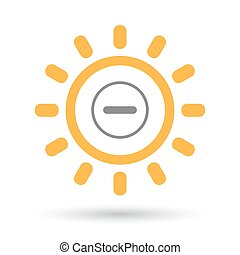 Isolated line art sun icon with a subtraction sign -...