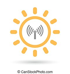 Isolated line art sun icon with an antenna - Illustration of...