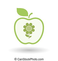 Isolated  line art apple icon with a flower