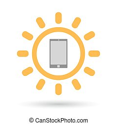 Isolated  line art sun icon with a smart phone