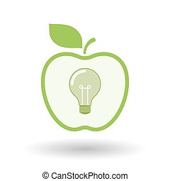 Isolated  line art apple icon with a light bulb