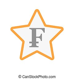 Isolated line art star icon with a swiss franc sign -...