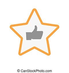 Isolated  line art star icon with a thumb up hand