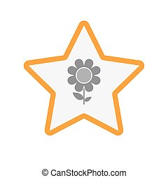 Isolated  line art star icon with a flower