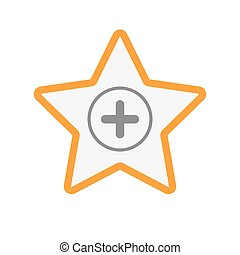 Isolated line art star icon with a sum sign - Illustration...