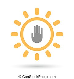Isolated  line art sun icon with a hand