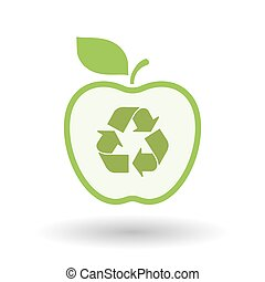 Isolated  line art apple icon with a recycle sign