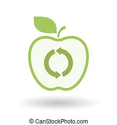 Isolated  line art apple icon with a round recycle sign