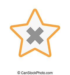 Isolated line art star icon with an x sign - Illustration of...