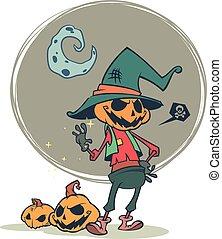 Halloween pumpkin head scarecrow