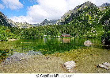 Glacial Lake Popradske Pleso in High Tatras National Park,...