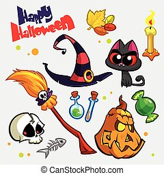 Halloween icons cartoon - Vector set of Halloween pumpkin...