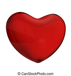 Red glass heart render isolated on white background