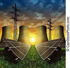 Energy resources concept - Solar energy panels, nuclear...