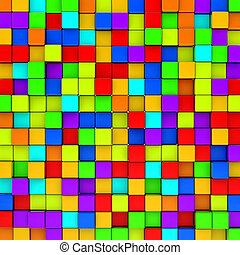 Wall of colorful cubes background.