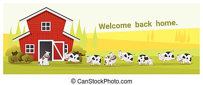 Rural landscape and farm animal background with cow , vector...