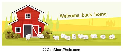 Rural landscape and farm animal background with sheep ,...