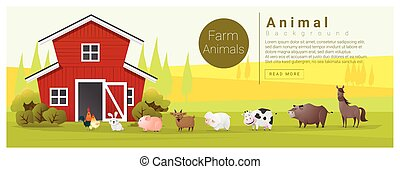 Rural landscape and farm animal background , vector ,...