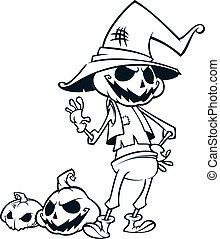 Outlines of cartoon scarecrow - Halloween pumpkin head...