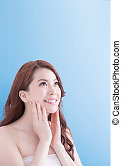 Beauty woman with charming smile - beauty woman smile and...