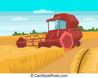 Harvester gather wheat cartoon vector illustration -...