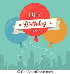 palloni, compleanno, disegno, Felice