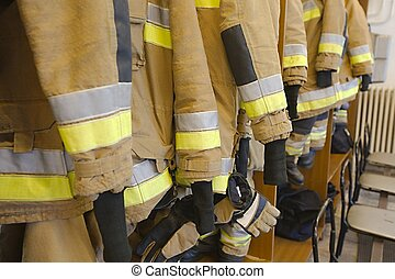 Fire fighter clothes - Protective clothes hanging at a fire...