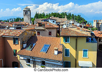 View to the Roofs of Sirmione and from Scaliger castle -...