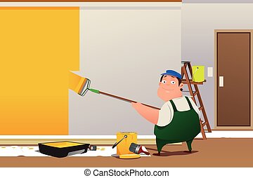 Man Painting a Wall - A vector illustration of man painting...