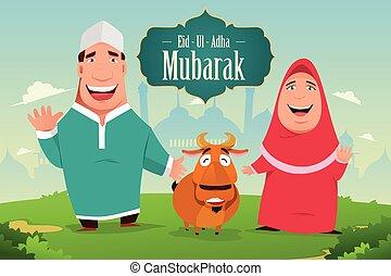 Eid-Ul-Adha Mubarak - A vector illustration of eid-ul-adha...