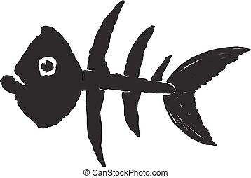 primitive fish skeleton - primitive sketch of the skeleton...