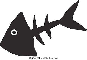 primitive fish skeleton - primitive sketch of the skeleton...