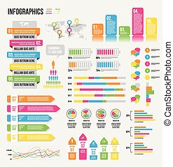 Infographics - Illustration of a set of infographics, with...