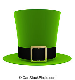 Green hat isolated on white background. St. Patrick's Day...