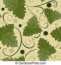 Seamless green leaves vector pattern
