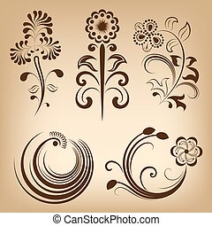 Floral vintage vector design elements.