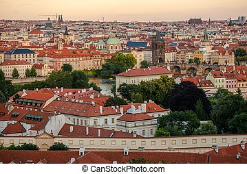 Prague Cityscape at Sunset Prague Old Town, Czechia, Europe...