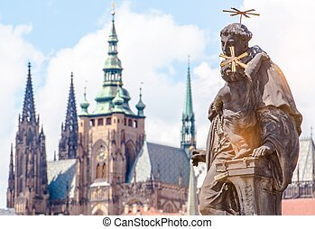 Prague Czechia Place Charles Bridge Sculpture Czech...
