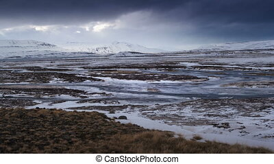 Time lapse of dramatic landscape in Iceland - Time lapse of...